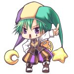 1boy baggy_pants bangs boots brown_footwear brown_pants brown_vest chibi clown_(ragnarok_online) collared_shirt commentary_request crescent crescent_hat_ornament eyebrows_visible_through_hair facial_tattoo full_body green_hair green_headwear hat hat_ornament jester_cap long_sleeves looking_at_viewer male_focus multicolored multicolored_clothes multicolored_headwear open_mouth pants purple_headwear ragnarok_online rectangular_mouth sakakura_(sariri) shirt short_hair simple_background solo standing star_(symbol) star_hat_ornament tattoo teardrop_tattoo v-shaped_eyebrows vest violet_eyes white_background white_shirt yellow_headwear