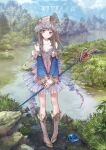 1girl absurdres atelier_(series) atelier_totori bangs bare_shoulders blue_sky blush boots brown_eyes brown_hair closed_mouth collarbone commentary_request day detached_sleeves flat_chest forest frills full_body head_tilt headdress highres holding kishida_mel knee_boots lake long_sleeves looking_at_viewer nature official_art outdoors pleated_skirt rock see-through skirt sky slime_(creature) smile staff standing totooria_helmold tree water