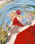 1girl :< arm_at_side ascot bangs blonde_hair closed_mouth expressionless female_pov flandre_scarlet from_below from_side hat hat_ribbon highres impressionism long_hair looking_at_viewer looking_down no_lineart outdoors petticoat pov puddle red_eyes red_ribbon red_skirt red_vest reddizen reflection ribbon short_sleeves side_ponytail skirt skirt_set solo standing touhou upskirt vest water white_headwear yellow_neckwear