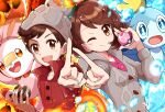 >:) 1boy 1girl :d :o bangs beanie brown_eyes brown_hair brown_headwear buttons cable_knit cardigan dress eyebrows_visible_through_hair fire gloria_(pokemon) green_headwear grey_cardigan haru_(haruxxe) hat highres holding holding_poke_ball index_finger_raised looking_at_viewer love_ball luxury_ball medium_hair one_eye_closed open_mouth outstretched_hand pink_dress poke_ball pokemon pokemon_(game) pokemon_swsh popped_collar red_shirt scorbunny shirt short_hair smile sobble swept_bangs tam_o'_shanter tearing_up v-shaped_eyebrows victor_(pokemon) water