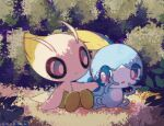 blue_eyes bright_pupils celebi closed_mouth comforting commentary_request leels no_humans pokemon pokemon_(creature) sitting smile sobble tearing_up white_pupils