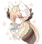 1girl black_wings blue_flower blush bouquet brown_flower circe_(fate) closed_mouth cropped_torso fate/grand_order fate_(series) floral_background flower green_eyes head_wreath holding holding_bouquet long_hair long_sleeves motoi_ayumu pink_hair pointy_ears purple_flower simple_background smile solo upper_body very_long_hair white_background white_flower white_wings wings
