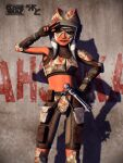 1girl 2010 ahsoka_tano alien armor background_text colored_skin energy_sword facial_tattoo feet_out_of_frame fingerless_gloves forehead_protector gloves grey_background helmet jedi knee_guards lightsaber looking_at_viewer mask mask_on_head master-cyrus midriff navel orange_skin pouch shorts smirk star_wars star_wars:_the_clone_wars sword tattoo togruta weapon