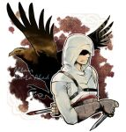 1boy altair_ibn_la-ahad animal arm_behind_back assassin's_creed assassin's_creed_(series) bird blood blood_on_weapon brown_gloves character_name commentary_request dagger eagle english_text fingerless_gloves gloves hidden_blade holding holding_dagger holding_weapon hood hood_up jacket knife long_sleeves male_focus outline partial_commentary sash shaded_face solo standing tatsuri_(forest_penguin) upper_body weapon white_jacket white_outline