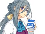 ahoge commentary_request dress_shirt drinking_straw grey_eyes grey_hair hair_between_eyes hair_bun halterneck highres kantai_collection kiyoshimo_(kancolle) long_hair long_sleeves low_twintails milk_carton multicolored_hair one-hour_drawing_challenge school_uniform shirt simple_background twintails umegae_ousuke upper_body very_long_hair white_background white_shirt