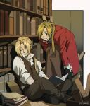 2boys against_bookshelf alphonse_elric belt black_footwear black_pants blonde_hair blurry book bookshelf brothers brown_eyes brown_footwear brown_pants brown_vest closed_eyes coat collared_shirt commentary crossed_ankles dated depth_of_field edward_elric fish_zeppelin full_body fullmetal_alchemist gloves hand_on_own_knee highres holding holding_book holding_clothes holding_coat indoors leaning_forward library long_hair long_sleeves looking_at_another male_focus multiple_boys open_book open_mouth pants ponytail red_coat scroll shirt shoes siblings sitting sleeping smile twitter_username vest white_gloves white_shirt