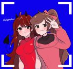 2girls blue_background blush breasts brown_hair chippohan dual_persona friday_night_funkin' girlfriend_(friday_night_funkin') horns pink_dress red_dress simple_background smile snake_tail twitter_username v