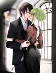 1boy 1girl absurdres black_hair black_jacket black_skirt blurry blurry_background braid brown_shirt c.c. closed_mouth code_geass couple dress_shirt eye_contact eyebrows_visible_through_hair formal green_hair grey_vest hetero highres indoors jacket lelouch_lamperouge long_hair long_sleeves looking_at_another noppo open_mouth pant_suit see-through shirt short_hair shoulder_blades sidelocks signature skirt smile suit tied_hair vest violet_eyes white_shirt yellow_eyes