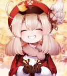 1girl :d ^_^ ^o^ acorn ahoge autumn_leaves backpack bag bangs blurry brown_gloves brown_scarf cabbie_hat carrying closed_eyes clover_print coat commentary depth_of_field eyebrows_visible_through_hair flower genshin_impact ginkgo_leaf gloves grin hair_between_eyes hat hat_flower hat_ornament highres klee_(genshin_impact) long_hair long_sleeves looking_at_viewer low_twintails open_mouth pointy_ears red_coat red_headwear scarf sidelocks smile solo twintails usako_(usako1031)