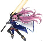 1girl alternate_costume armored_shoes bangs black_bow black_legwear black_skirt blue_coat blue_eyes bow cape coat commentary_request copyright_request cosplay eyebrows_visible_through_hair fate_testarossa fate_testarossa_(cosplay) full_body gauntlets hair_bow holding holding_sword holding_weapon huge_weapon long_hair looking_at_viewer lyrical_nanoha megurine_luka open_mouth pink_hair sakakura_(sariri) simple_background skirt solo sword thigh-highs v-shaped_eyebrows vocaloid weapon white_background white_cape