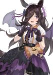 1girl absurdres animal_ears bat_wings black_dress bow bowtie brown_hair commentary_request cowboy_shot dress gloves hair_ornament halloween_costume headdress highres horse_ears horse_girl long_hair looking_at_viewer make_up_in_halloween!_(umamusume) multicolored multicolored_clothes multicolored_dress official_alternate_costume open_mouth purple_bow purple_dress purple_gloves purple_neckwear rice_shower_(umamusume) rokojii simple_background solo umamusume violet_eyes white_background white_dress wings