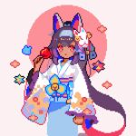 1girl bangs bell blue_hairband blue_ribbon candy_apple closed_mouth commentary_request dark-skinned_female dark_skin drac. floral_print food fox_mask hair_ribbon hairband hand_up headgear holding holding_food japanese_clothes jingle_bell kimono long_hair long_sleeves looking_at_viewer lowres mask mask_on_head nephtim_(world_flipper) official_alternate_costume pink_background pixel_art purple_hair red_eyes ribbon sash sidelocks simple_background solo standing two-tone_background very_long_hair white_kimono wide_sleeves world_flipper