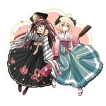 2girls ;d ahoge bangs black_bow black_hakama black_headwear blonde_hair blue_hakama boots bow brown_footwear brown_hair closed_mouth cross-laced_footwear eyebrows_visible_through_hair family_crest fate/grand_order fate_(series) green_eyes hagoita hair_between_eyes hair_bow hakama hakama_skirt hand_on_headwear hand_up hat highres holding_hands interlocked_fingers japanese_clothes kimono koha-ace lace-up_boots long_hair long_sleeves looking_at_viewer motoi_ayumu multiple_girls oda_nobunaga_(fate) oda_nobunaga_(koha/ace) oda_uri okita_souji_(fate) okita_souji_(koha/ace) one_eye_closed open_mouth paddle peaked_cap pink_kimono red_eyes skirt sleeves_past_wrists smile socks striped striped_kimono tabi very_long_hair white_legwear wide_sleeves zouri