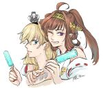 2girls ahoge arm_around_shoulder bangs blonde_hair blue_eyes braid brown_hair crown dated detached_sleeves double_bun ear_piercing eyebrows_visible_through_hair food french_braid grin hair_between_eyes headgear holding jewelry kantai_collection kongou_(kancolle) long_hair looking_at_viewer mini_crown multiple_girls necklace one_eye_closed parted_lips piercing popsicle portrait ribbon-trimmed_sleeves ribbon_trim signature simple_background smile violet_eyes warspite_(kancolle) white_background yamada_rei_(rou)