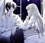 1boy 1girl 2021 bangs bare_legs c.c. closed_mouth code_geass collarbone collared_shirt couple dated dress_shirt eye_contact eyebrows_visible_through_hair hair_between_eyes head_rest hetero highres lelouch_lamperouge limited_palette long_hair long_sleeves looking_at_another naked_shirt night night_sky noppo pants shirt short_hair signature sky smile straight_hair very_long_hair violet_eyes wing_collar yellow_eyes