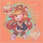 1girl animal_ear_fluff animal_ears bangs blonde_hair blue_jacket blush bow brown_eyes brown_hair chibi chromatic_aberration english_commentary fubkzm hazumi_aileen highres holding holding_microphone indie_virtual_youtuber jacket lion lion_ears lion_girl long_hair mane microphone military military_uniform multicolored_hair pointing skirt solo streaked_hair thigh-highs uniform v-shaped_eyebrows virtual_youtuber white_bow white_skirt