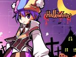 1boy baggy_pants bangs bat blue_headwear brown_pants brown_vest closed_mouth clown_(ragnarok_online) collared_shirt commentary_request cowboy_shot crescent_moon cross expressionless eyebrows_visible_through_hair ghost halloween hat house jack-o'-lantern jester_cap looking_at_viewer male_focus moon multicolored multicolored_clothes multicolored_headwear pants pink_headwear pumpkin purple_hair ragnarok_online sakakura_(sariri) shirt short_hair solo v-shaped_eyebrows vest violet_eyes white_shirt yellow_headwear