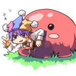1boy bangs blue_headwear blush_stickers brown_vest clown_(ragnarok_online) collared_shirt commentary_request eyebrows_visible_through_hair full_body grass hair_between_eyes hat jester_cap long_sleeves lowres mastering multicolored multicolored_clothes multicolored_headwear oekaki open_mouth pink_headwear purple_hair ragnarok_online sakakura_(sariri) shirt short_hair slime_(creature) smile v vest violet_eyes white_shirt yellow_headwear