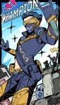 >_< \m/ apex_legends black_bodysuit black_hair blue_gloves blue_hair blue_jacket blue_pants bodysuit box fast_fashion_octane gloves hair_bun hair_slicked_back highres humanoid_robot jacket male_focus mask mouth_mask nozomu144 octane_(apex_legends) one-eyed pants pathfinder_(apex_legends) science_fiction sitting solo_focus sparkle visor wraith_(apex_legends)