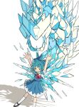 1girl absurdres arms_up blue_dress blue_eyes blue_hair blush cirno collared_shirt commentary_request dragon dress grin highres ice ice_wings looking_at_viewer mary_janes neruzou pinafore_dress puffy_short_sleeves puffy_sleeves red_neckwear red_ribbon ribbon shadow shirt shoes short_hair short_sleeves sidelocks simple_background smile solo standing touhou white_background white_legwear wing_collar wings