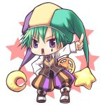 1boy baggy_pants bangs boots brown_footwear brown_pants brown_vest chibi clown_(ragnarok_online) collared_shirt commentary_request crescent crescent_hat_ornament eyebrows_visible_through_hair facial_tattoo full_body green_hair green_headwear hat hat_ornament jester_cap long_sleeves looking_at_viewer male_focus multicolored multicolored_clothes multicolored_headwear open_mouth pants purple_headwear ragnarok_online rectangular_mouth sakakura_(sariri) shirt short_hair solo standing star_(symbol) star_hat_ornament tattoo teardrop_tattoo v-shaped_eyebrows vest violet_eyes white_background white_shirt yellow_headwear