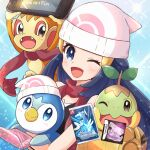 1girl :d bare_shoulders beanie black_shirt blue_background blue_eyes blue_hair blush chimchar dawn_(pokemon) hair_ornament hairclip handheld_game_console haru_(haruxxe) hat highres holding holding_handheld_game_console holding_pokemon light_particles long_hair looking_at_viewer nintendo_dsi nintendo_switch one_eye_closed open_mouth piplup poke_ball_symbol pokemon pokemon_(creature) pokemon_(game) pokemon_bdsp pokemon_dppt red_scarf scarf shirt smile sparkle turtleneck video_game white_headwear yellow_bag