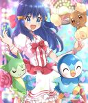 1girl :d blue_eyes blue_hair blush bow bracelet buneary closed_eyes dawn_(pokemon) dress eyebrows_visible_through_hair frilled_dress frills hair_bow haru_(haruxxe) heart highres jewelry long_hair musical_note official_alternate_costume one_eye_closed open_mouth piplup pokemon pokemon_(game) pokemon_bdsp puffy_short_sleeves puffy_sleeves red_bow roselia short_sleeves smile stage_lights white_dress yellow_bow