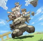 2girls 4boys absurdres ahoge boron_(senjou_no_fuuga) brown_eyes cannon clenched_teeth closed_eyes clouds collared_shirt ears_through_headwear floating_island furry furry_female furry_male glasses grass ground_vehicle hanna_(senjou_no_fuuga) highres kyle_(senjou_no_fuuga) little_tail_bronx long_hair malt_(senjou_no_fuuga) mei_(senjou_no_fuuga) military military_vehicle motor_vehicle multiple_boys multiple_girls notched_ear open_hands open_mouth outstretched_arms pointing red_armband ruins scarf senjou_no_fuuga shirt short_hair signature sky smile socks_(senjou_no_fuuga) suspenders tank taranis_(senjou_no_fuuga) teeth village wantwo windmill yellow_eyes yellow_scarf