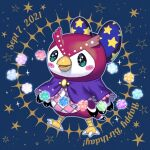 1girl animal_crossing bird blush bow celeste_(animal_crossing) dated full_body hair_bow happy_birthday looking_at_viewer owl simple_background solo sparkling_eyes star_(symbol) star_print tsutsuji_(hello_x_2)