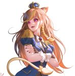 1girl absurdres animal_ear_fluff animal_ears ashe_redd_(artist) bangs blue_jacket bow crown english_commentary eyebrows_visible_through_hair floating_hair hazumi_aileen highres indie_virtual_youtuber jacket lion_ears lion_girl lion_tail long_hair looking_to_the_side military military_uniform open_mouth orange_bow puffy_sleeves smile solo tail uniform violet_eyes virtual_youtuber white_background