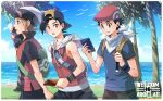 3boys adapted_costume backpack backwards_hat bag baseball_cap beanie black_hair border brendan_(pokemon) brown_hair clouds commentary_request day ethan_(pokemon) grass green_bag hat holding holding_phone holding_strap jacket looking_at_viewer lucas_(pokemon) male_focus multiple_boys outdoors palm_tree phone pokemon pokemon_(game) pokemon_dppt pokemon_hgss pokemon_oras red_headwear shirt shore short_hair short_sleeves sky talking_on_phone tree water white_border white_headwear wristband xichii