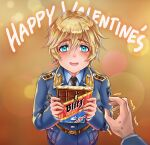 1boy 1girl blonde_hair blue_eyes blue_jacket blue_shirt blush bob_cut chocolate darun_khanchanusthiti drugs embarrassed english_text from_above german_text giving hands heike_grislawski highres holding jacket leather_belt looking_at_viewer looking_up military military_uniform necktie original patch pov reaching_out shirt short_hair shoulder_boards shy uniform valentine