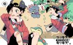 ! 1boy backwards_hat bag bandaid bandaid_on_knee bangs baseball_cap black_hair black_shorts blush branch commentary_request cyndaquil ethan_(pokemon) hanging hat jacket leaves_in_wind licking long_sleeves male_focus misdreavus navel pokemon pokemon_(creature) pokemon_(game) pokemon_hgss short_hair shorts sitting spoken_exclamation_mark spoken_squiggle squiggle tongue tongue_out translation_request xichii zipper zipper_pull_tab