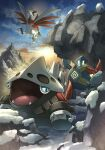 arm_ribbon blue_eyes claws clouds commentary_request day fangs fushigi_no_dungeon glowing golett hakkentai_pokedan highres holding lairon open_mouth outdoors pokemon pokemon_(creature) pokemon_(game) pokemon_mystery_dungeon ribbon skarmory sky snow standing tongue yellow_eyes