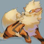 arcanine bright_pupils closed_mouth commentary_request fangs grey_background grey_eyes highres looking_to_the_side mian_(3zandora) no_humans pokemon pokemon_(creature) solo toes white_pupils