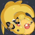 ampharos black_eyes commentary_request forehead_jewel full_body glowing grey_background mian_(3zandora) no_humans pokemon pokemon_(creature) ruby_(gemstone) shiny solo