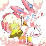 :> :d blue_eyes blush_stickers bow closed_eyes closed_mouth commentary_request eldegoss fang heart highres looking_at_viewer open_mouth pink_bow pokemon pokemon_(game) pokemon_unite smile standing surumeika_(ninfiiiir) sylveon toes tongue