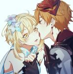 1boy 1girl bangs bare_shoulders black_gloves blonde_hair blue_eyes blush breasts couple crying crying_with_eyes_open detached_sleeves dress earrings eriimyon flower genshin_impact gloves grabbing hair_between_eyes hair_flower hair_ornament highres holding_hands jewelry licking licking_face long_hair long_sleeves lumine_(genshin_impact) mask mask_on_head open_mouth orange_hair short_hair short_hair_with_long_locks single_earring tartaglia_(genshin_impact) tears tongue white_background white_dress yellow_eyes