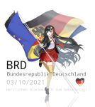 1girl absurdres black_footwear black_hair black_jacket blue_eyes commentary_request dated european_union_flag eyebrows_visible_through_hair flag full_body german_flag german_text germany highres holding holding_flag jacket long_hair looking_at_viewer multicolored_hair necktie open_clothes open_jacket open_mouth original personification phonetik red_neckwear red_skirt shirt shoes skirt solo standing standing_on_one_leg thigh-highs white_shirt yellow_legwear