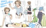 2boys arm_support barefoot brendan_(pokemon) commentary_request electric_fan flygon flying_sweatdrops food grey_hair grey_shirt holding holding_stick jacket jewelry male_focus multiple_boys pikachu pokemon pokemon_(game) pokemon_oras popsicle ring shirt short_hair shorts sitting sleeveless sleeveless_shirt soles speech_bubble standing steven_stone stick t-shirt toes translation_request white_shirt xichii