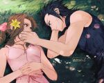 1boy 1girl aerith_gainsborough bangs bare_arms bare_shoulders black_hair black_sweater blue_eyes bow breasts brown_hair commentary_request dress final_fantasy final_fantasy_vii flower grass hair_flower hair_ornament hetero highres jewelry looking_at_another lying maiii_(smaii_i) medium_breasts on_side pink_bow pink_ribbon ribbon scar scar_on_cheek scar_on_face sleeveless smile sweater white_flower yellow_flower zack_fair
