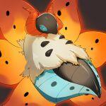 blue_eyes bug commentary_request glowing highres horns mian_(3zandora) moth no_humans pokemon pokemon_(creature) shiny solo spots volcarona white_fur