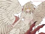1girl bangs blonde_hair breasts centauroid chimera closed_mouth commentary_request copyright_name cowboy_shot dungeon_meshi falin_thorden feathered_wings feathers floating_hair hair_between_eyes highres looking_at_viewer medium_breasts monster_girl rosarian666 short_hair sidelocks simple_background smile solo spoilers talons taur under_boob white_background wings yellow_eyes