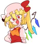 1girl :o ascot blonde_hair crystal fang flandre_scarlet hat medium_hair mob_cap one_side_up op_na_yarou pointy_ears puffy_short_sleeves puffy_sleeves red_eyes red_vest shirt short_sleeves simple_background solo touhou v-shaped_eyebrows vest white_background white_shirt wings yellow_neckwear