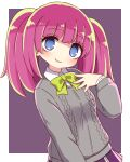 1girl aran_sweater black_background blue_eyes bow breasts collared_shirt commentary_request dohna_dohna grey_sweater hand_up highres long_hair mob_(dohna_dohna) naga_u parted_lips pink_hair pleated_skirt purple_skirt shaded_face shirt skirt small_breasts smile solo sweater twintails two-tone_background white_background white_shirt yellow_bow