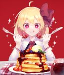 1girl absurdres ascot bangs berry black_dress blonde_hair blueberry bow closed_mouth collar collared_shirt cream dress earrings eyebrows_visible_through_hair food fork fruit hair_between_eyes hair_bow hands_up heart heart-shaped_pupils highres jewelry knife long_sleeves pancake pink_eyes plate red_background red_bow red_neckwear rumia shinketsu_kanyu shirt short_hair sitting smile solo star_(symbol) starry_background strawberry symbol-shaped_pupils tongue tongue_out touhou white_shirt