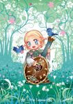 1boy :d bird blush cape character_name chibi child forest green_cape holding holding_instrument instrument instrument_request kazuki-mendou layered_sleeves legendarium legolas long_sleeves looking_at_viewer nature open_mouth short_over_long_sleeves short_sleeves side_braids signature smile solo standing the_silmarillion