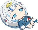 1girl blue_eyes blue_hoodie chibi fish_tail gawr_gura grey_hair hololive hololive_english hood hoodie ikalsaurus long_hair lying on_back shark_tail shoes solo sticky_note tail two_side_up