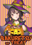 1girl absurdres black_gloves blush candy cape cat collarbone commentary_request eyebrows_visible_through_hair fingerless_gloves food gloves halloween hat highres holding kono_subarashii_sekai_ni_shukufuku_wo! lollipop looking_at_viewer megumin red_eyes striped striped_background tongue tongue_out upper_body witch_hat yachiyo_naga