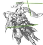 2boys arm_around_waist armor coat commentary_request crack damaged dual_wielding energy_sword extra_arms full_body greyscale hand_up holding humanoid_robot jacket japanese_armor jumping korean_commentary kusazuri male_focus monochrome multiple_boys necktie one-eyed pants protecting regis_(world_flipper) scarf shirt shoes shoulder_armor simple_background sketch small_dduck spot_color sword weapon white_background world_flipper zantetsu_(world_flipper)
